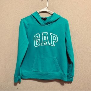 GAP logo sea green/blue fleece hoodie
